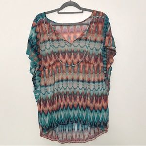 Maurices Multicolor Boho Batwing Sleeve Top Blouse